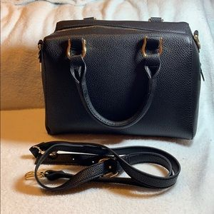 Black top handle satchel with strap